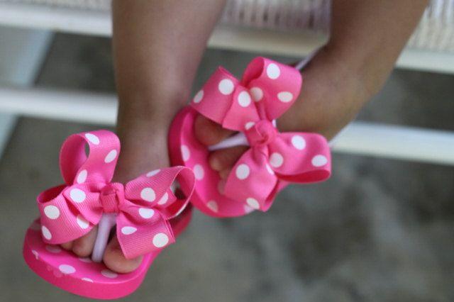adb389ff2 Baby Girl Flip Flops - Infant flip flops -- Hot pink bow flip flops -- infant  1 LAST ONE.  11.95