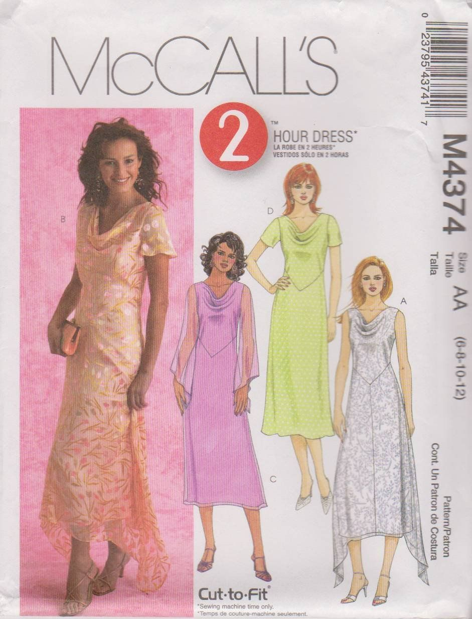 McCall\'s Sewing Pattern M4374 4374 Misses Size 6-12 2-Hour A-Line ...