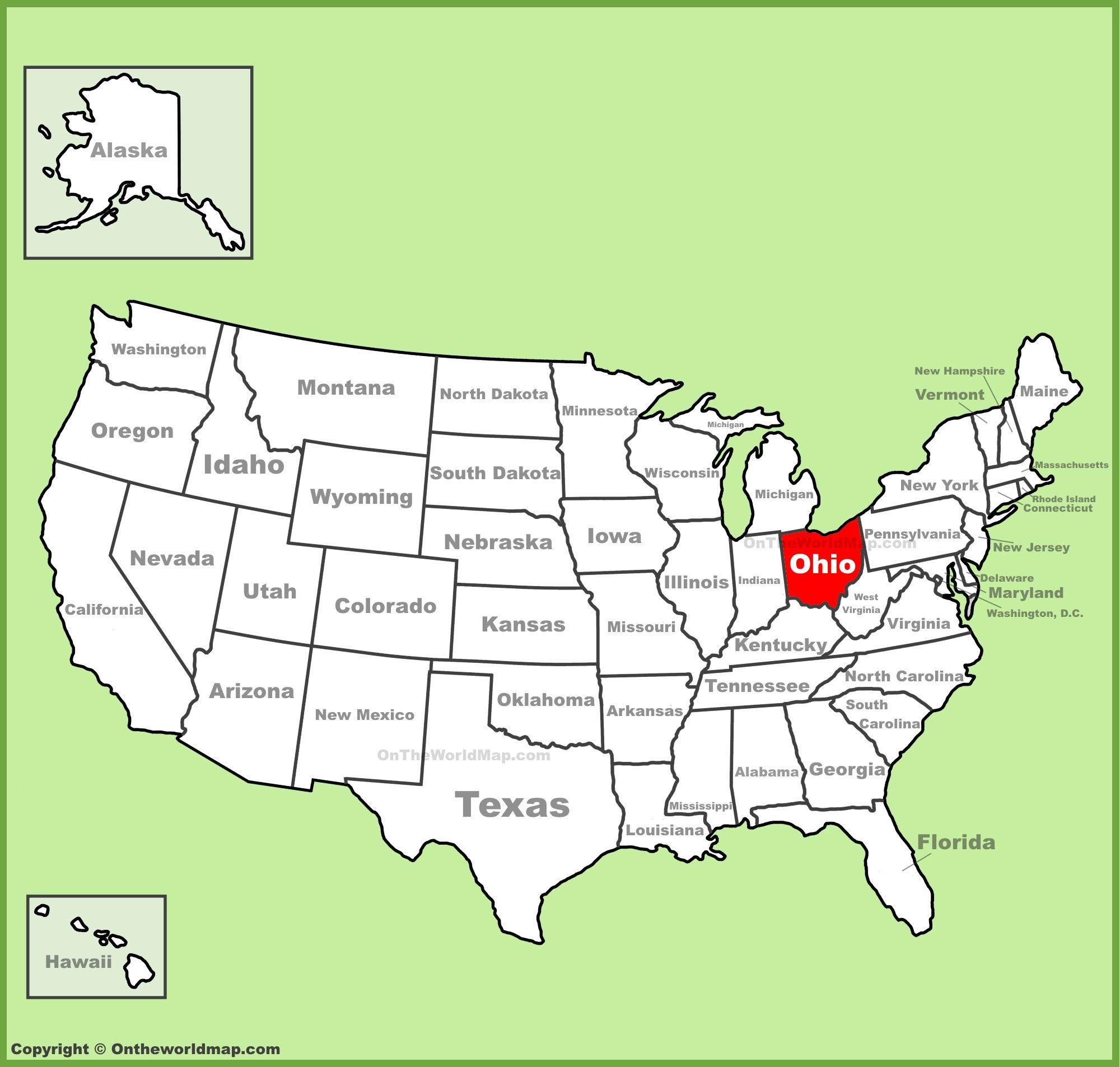 Ohio location on the US Map Ohio Pinterest Ohio