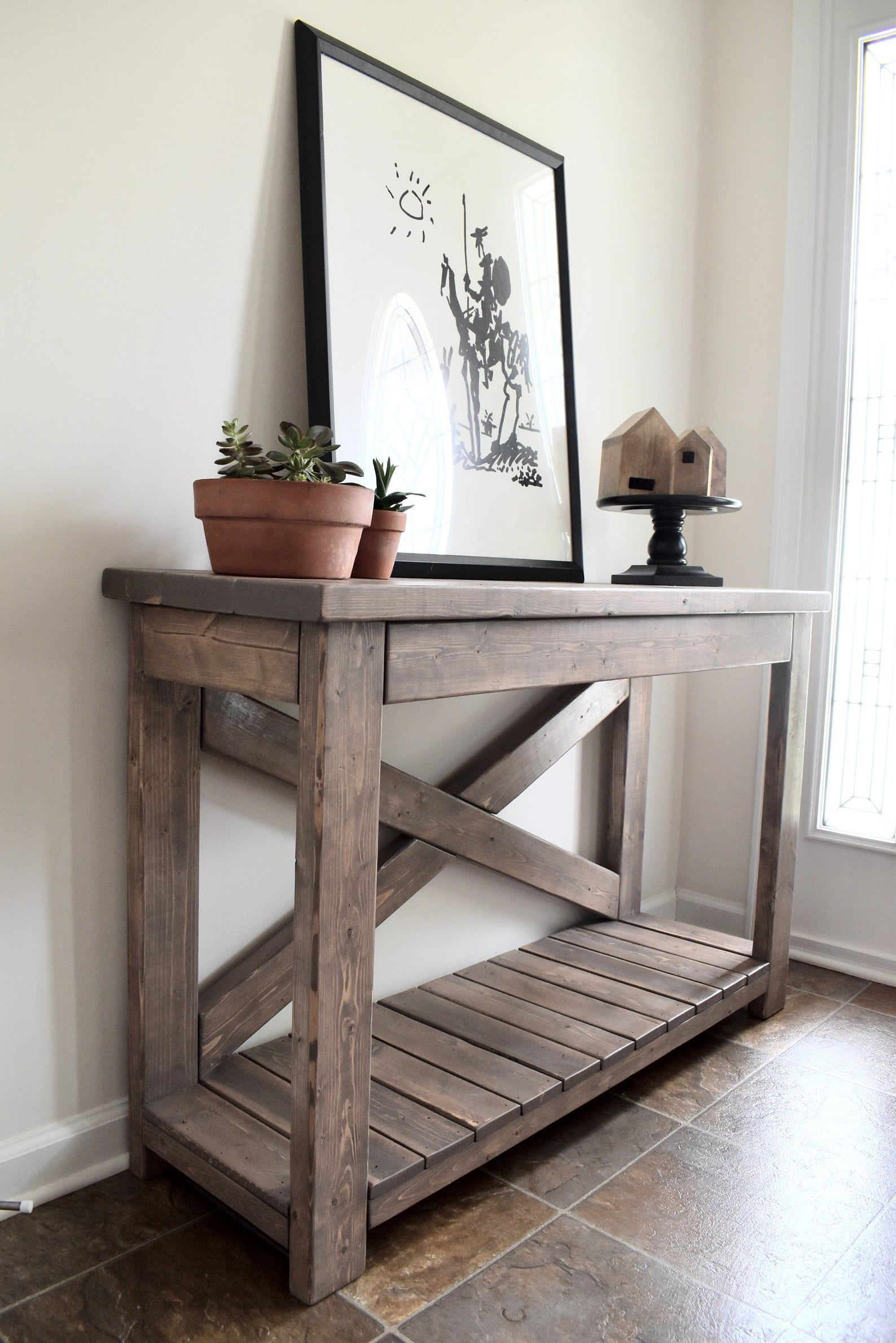 Handcrafted wood rustic console table modern farmhouse in