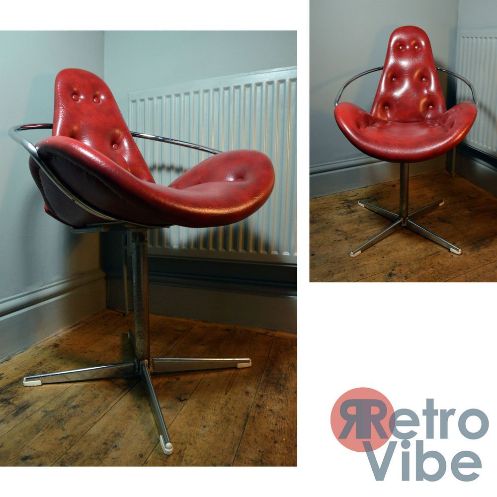 Retro Swivel Chair #34 - Funky 70 S Retro Swivel Chair In Leather Would Suit  Office/Shop/Living/Bedroom