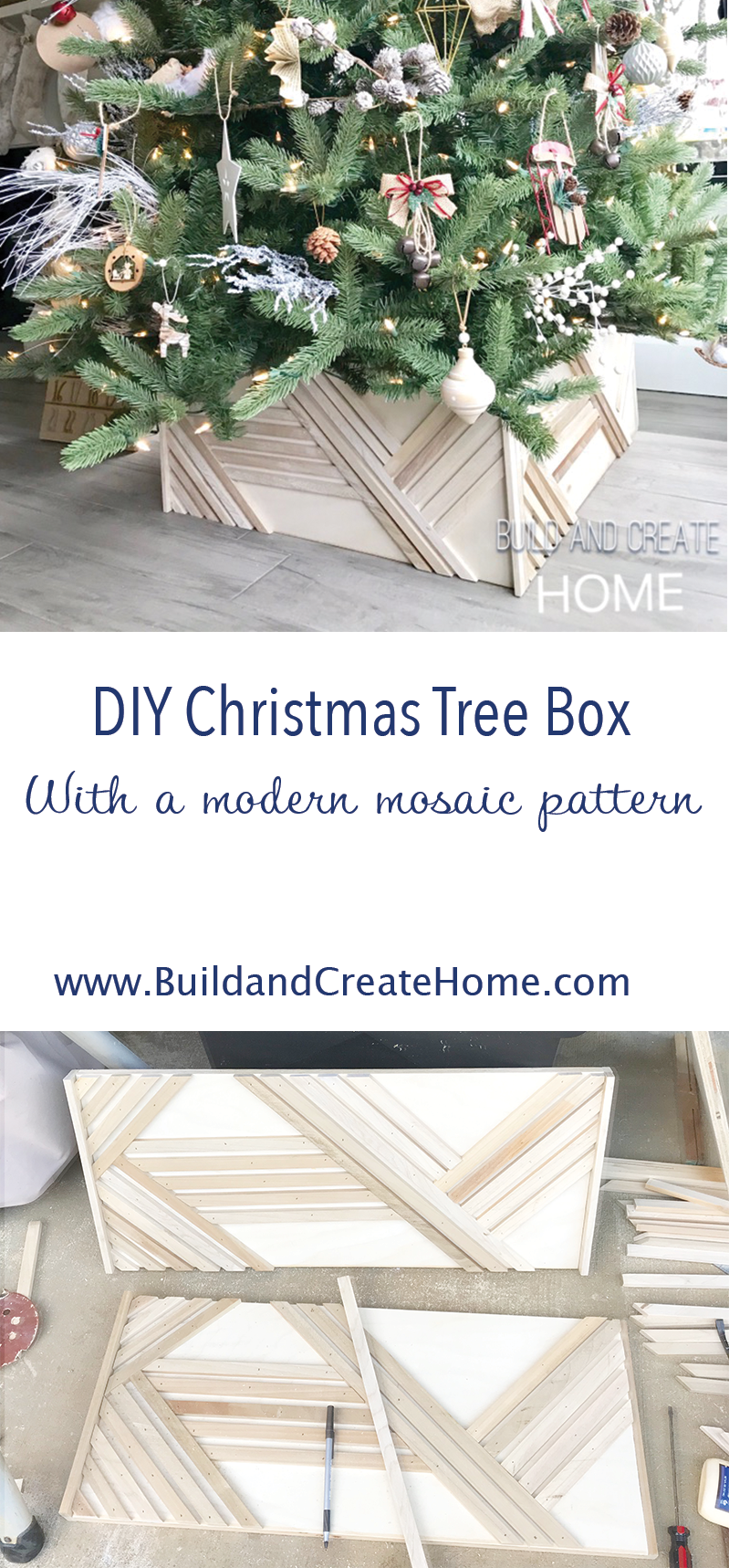How To Build A Modern Mosaic Christmas Tree Box Diy Tutorial Woodworking Christmastreebox Christmas Tree Box Stand Christmas Tree Box Boho Christmas Tree