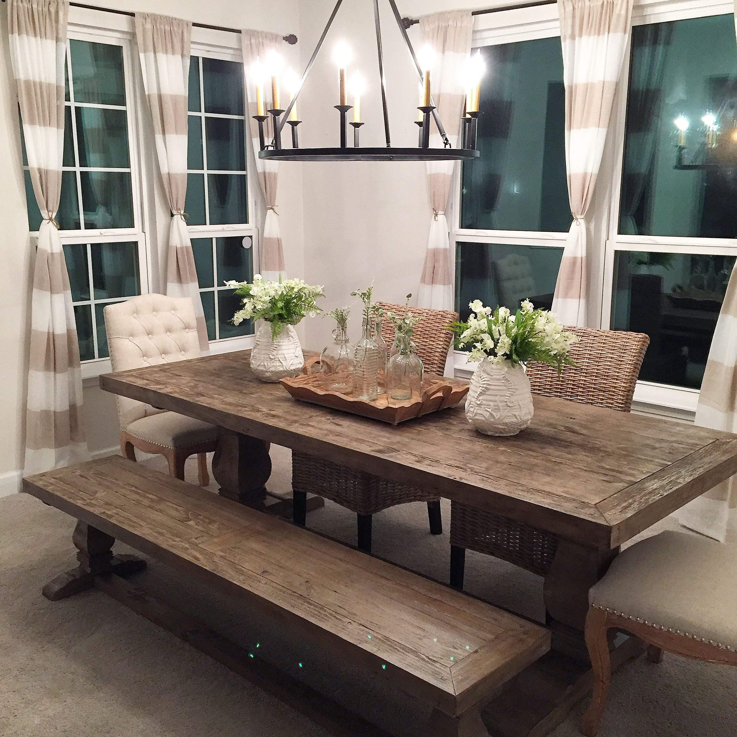 Coastal Farmhouse Dining Room is almost complete. Table