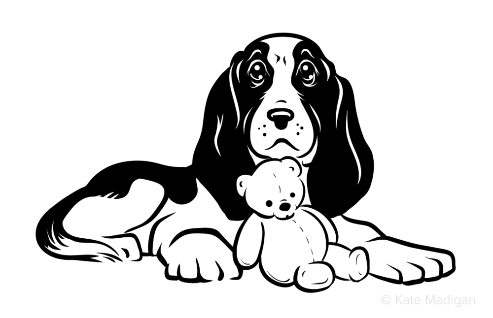 Miss You'  Black and white drawing of a sad beagle dog or