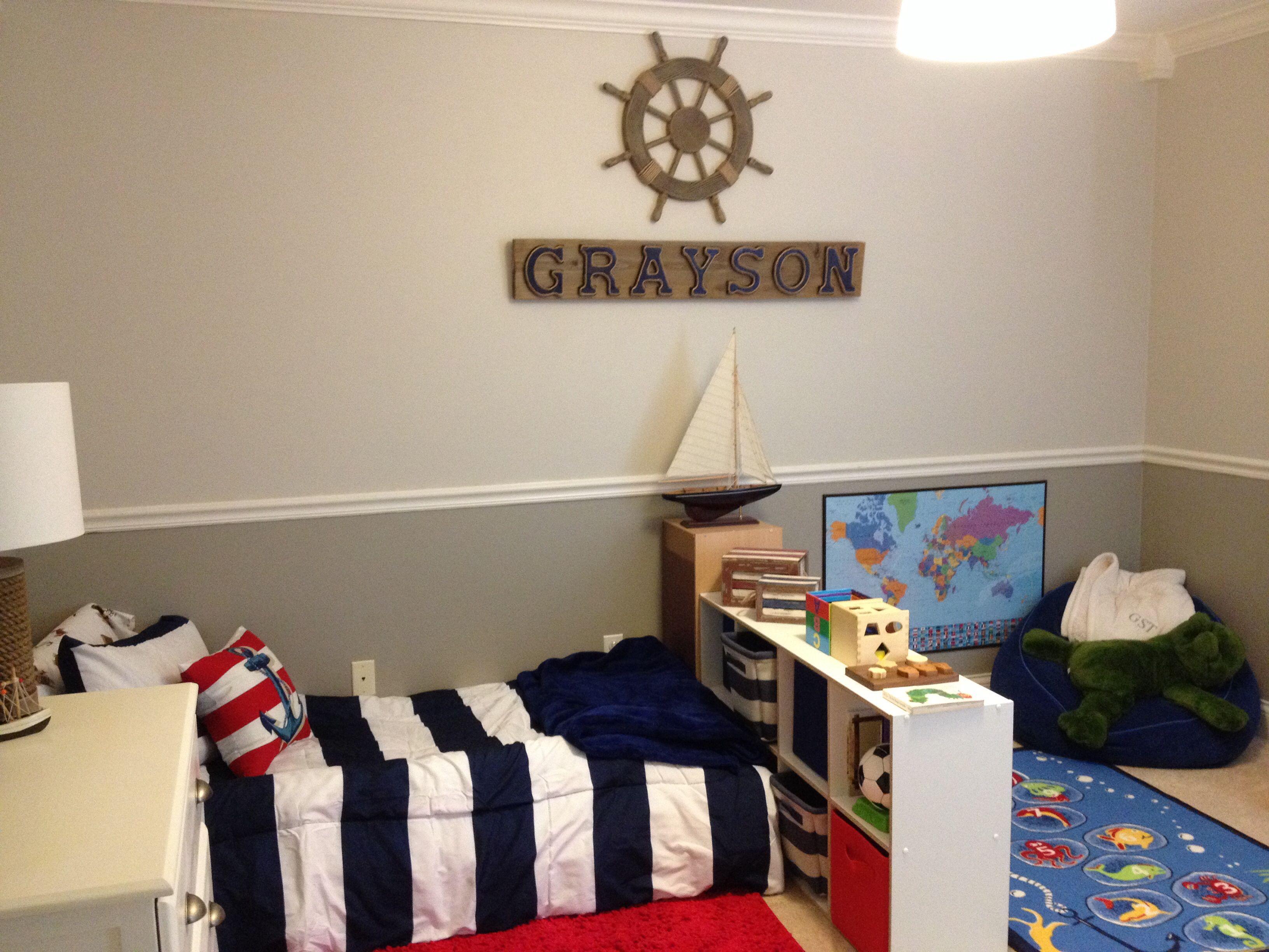 Montessori Toddler Room Nautical Theme Grayson Loves It Toddler Floor Bed Toddler Boys Room Boy Toddler Bedroom