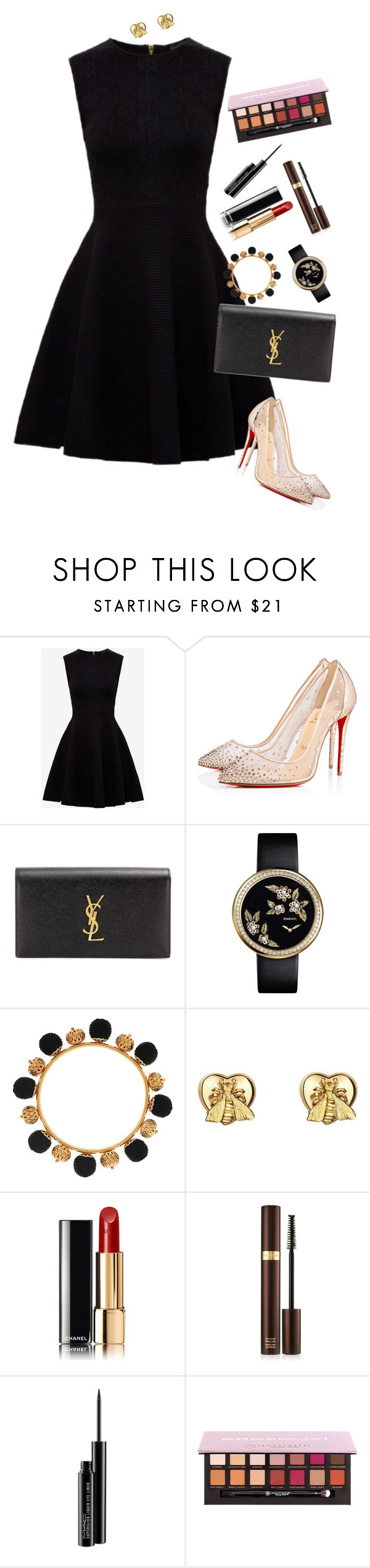 """""""Now, who is my secret santa ?"""" by xoxomuty on Polyvore featuring Ted Baker, Christian Louboutin, Yves Saint Laurent, Dolce&Gabbana, Gucci, Tom Ford, MAC Cosmetics, Christmas and polyvoreOOTD"""