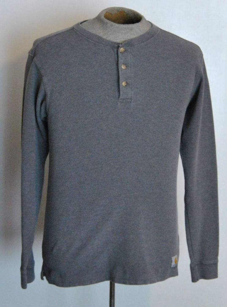Carhartt Henley Shirt XL Boys Solid Gray 100% Cotton Long Sleeve #Carhartt free shipping auction starting at $16.99