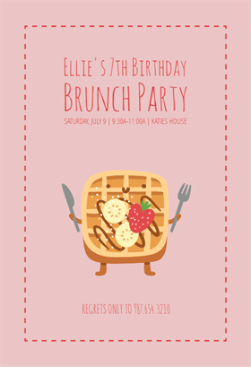food fun waffle birthday invitation