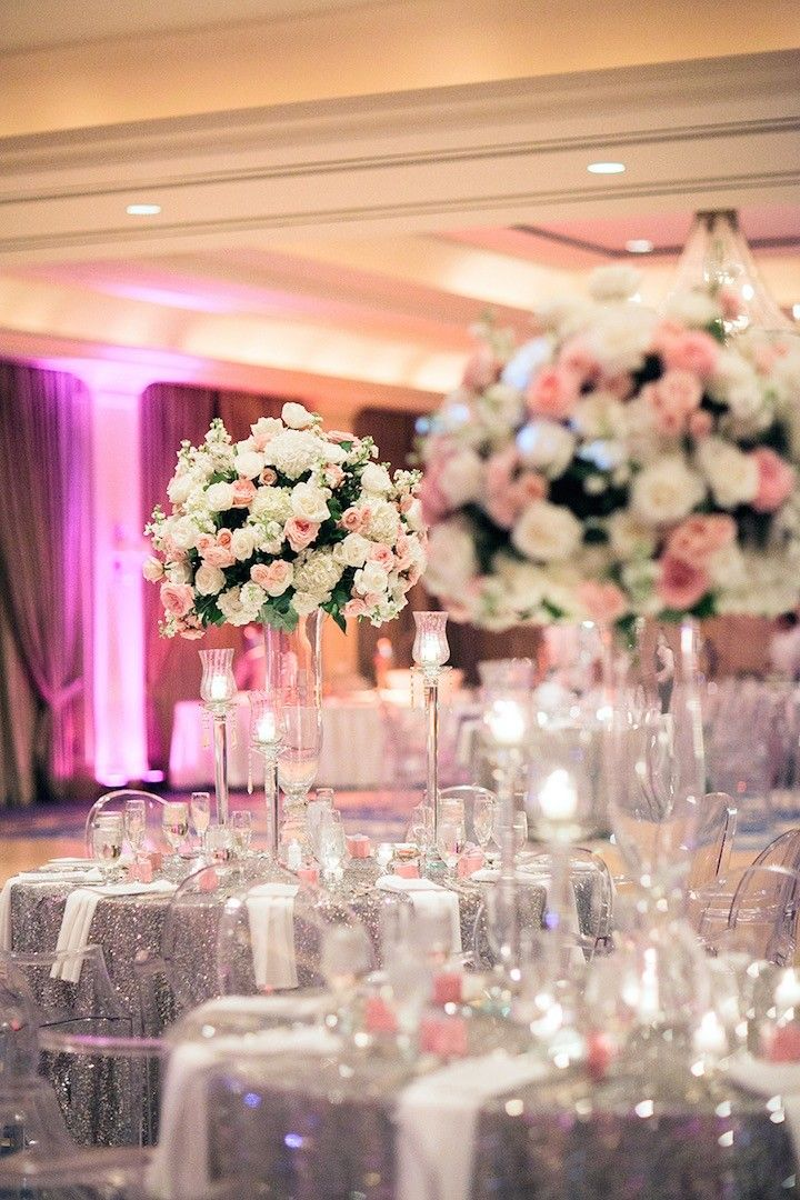 Houston Wedding Silver And Pink Glamour Wedding Centerpiece Ideas