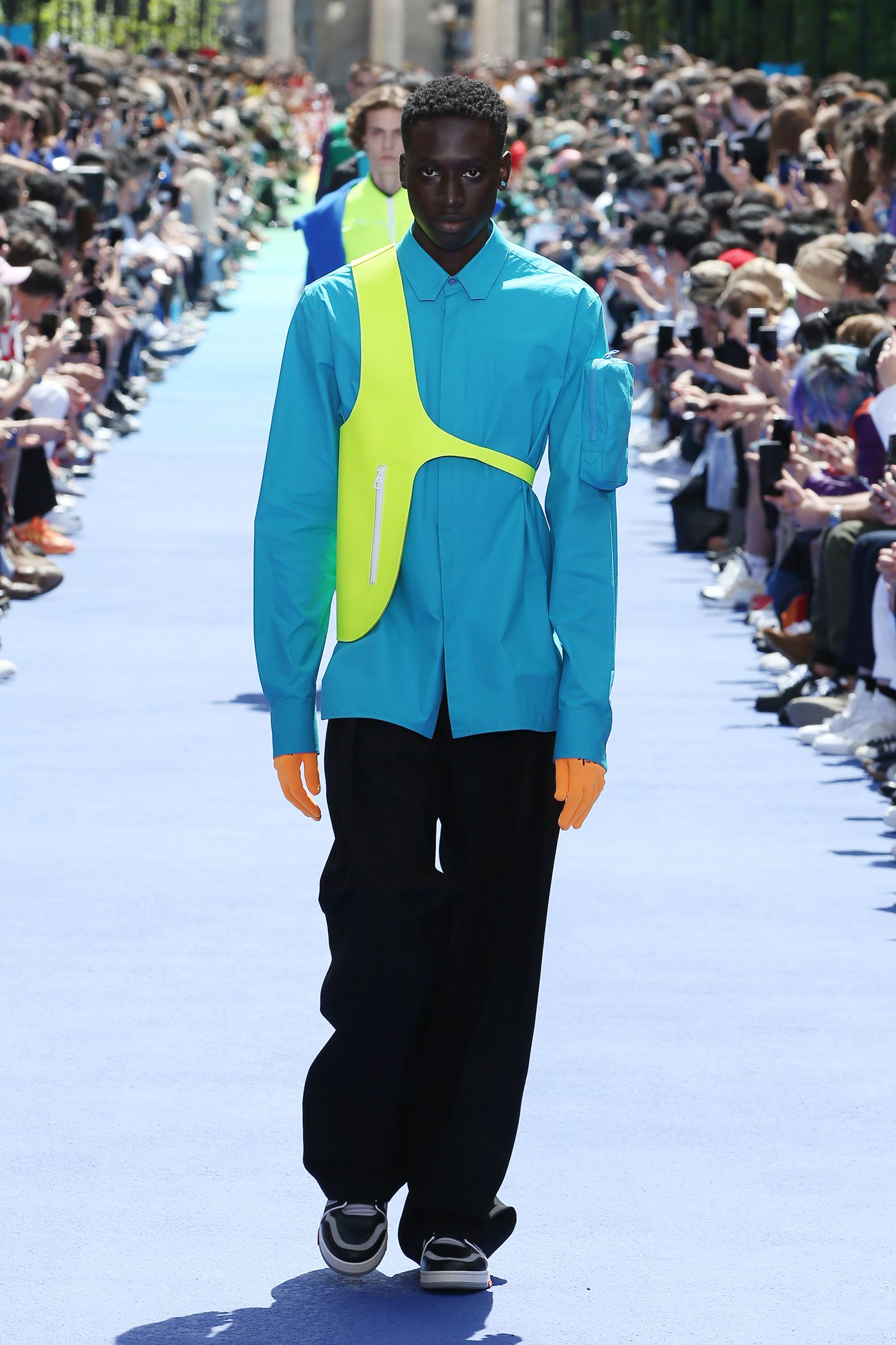 58c3ca393816 Look from the Men s Spring-Summer 2019 Fashion Show by Louis Vuitton s new  men s artistic director Virgil Abloh.