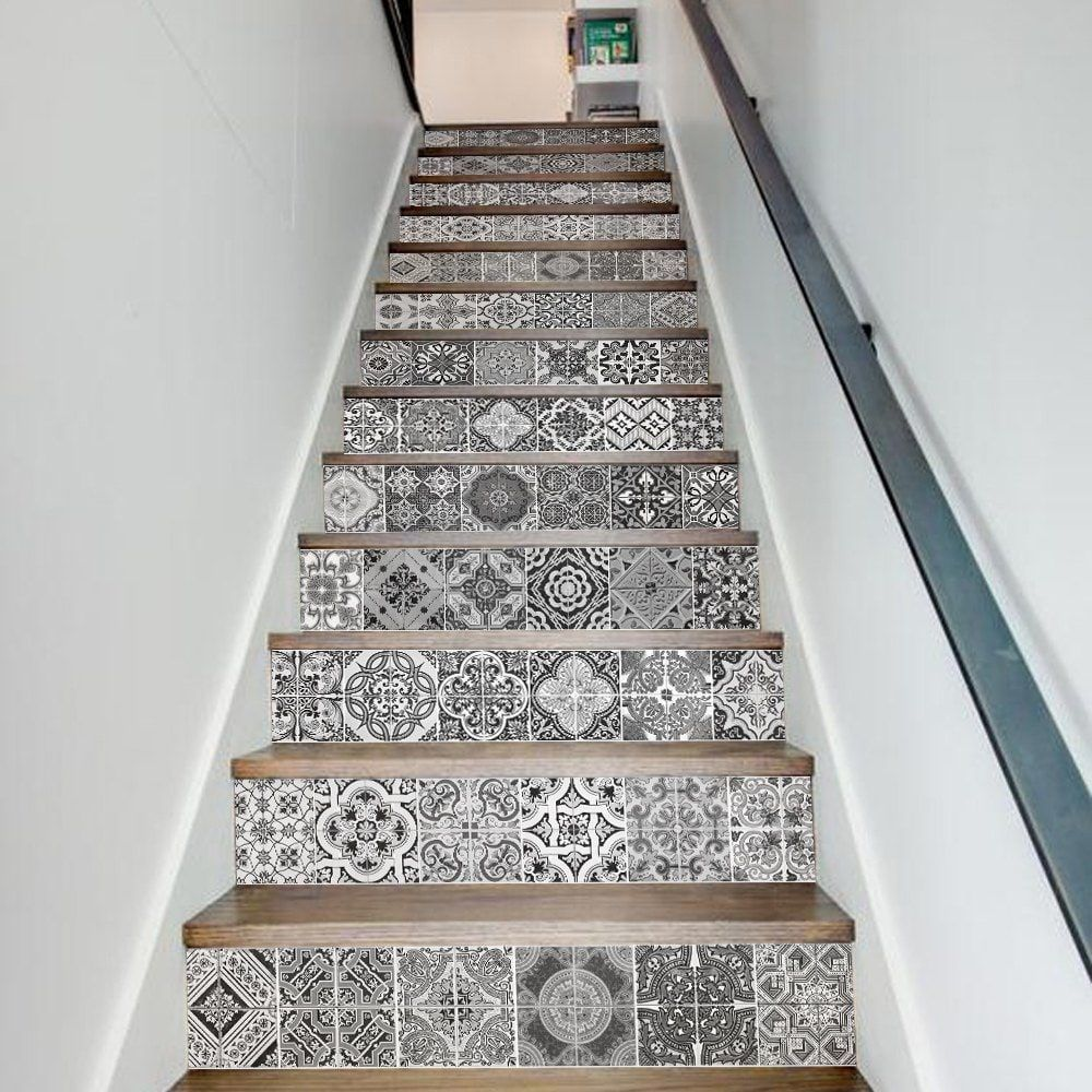 Tile Decoration Stickers Extraordinary Ceramic Tiles Patterns Style 13 Pieces Stair Sticker Wall Decor 2018
