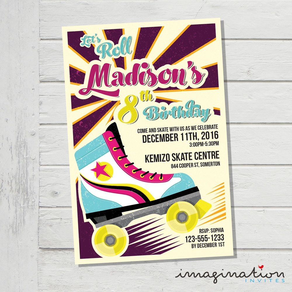 Roller skating rinks youngstown ohio - Roller Skate Invitation Roller Skating Birthday Party Invite Jpeg Digital File Customized By Imaginationinvites On