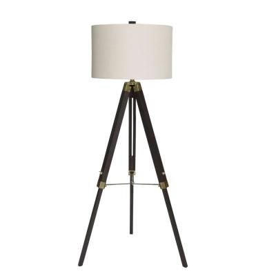 Fangio Lighting 60 In Classic Structured Tripod Weathered Espresso Wood And Antique Brass Metal Floor Lamp In 2019 Floor Lamp Brass Floor Lamp Contemporary Floor Lamps