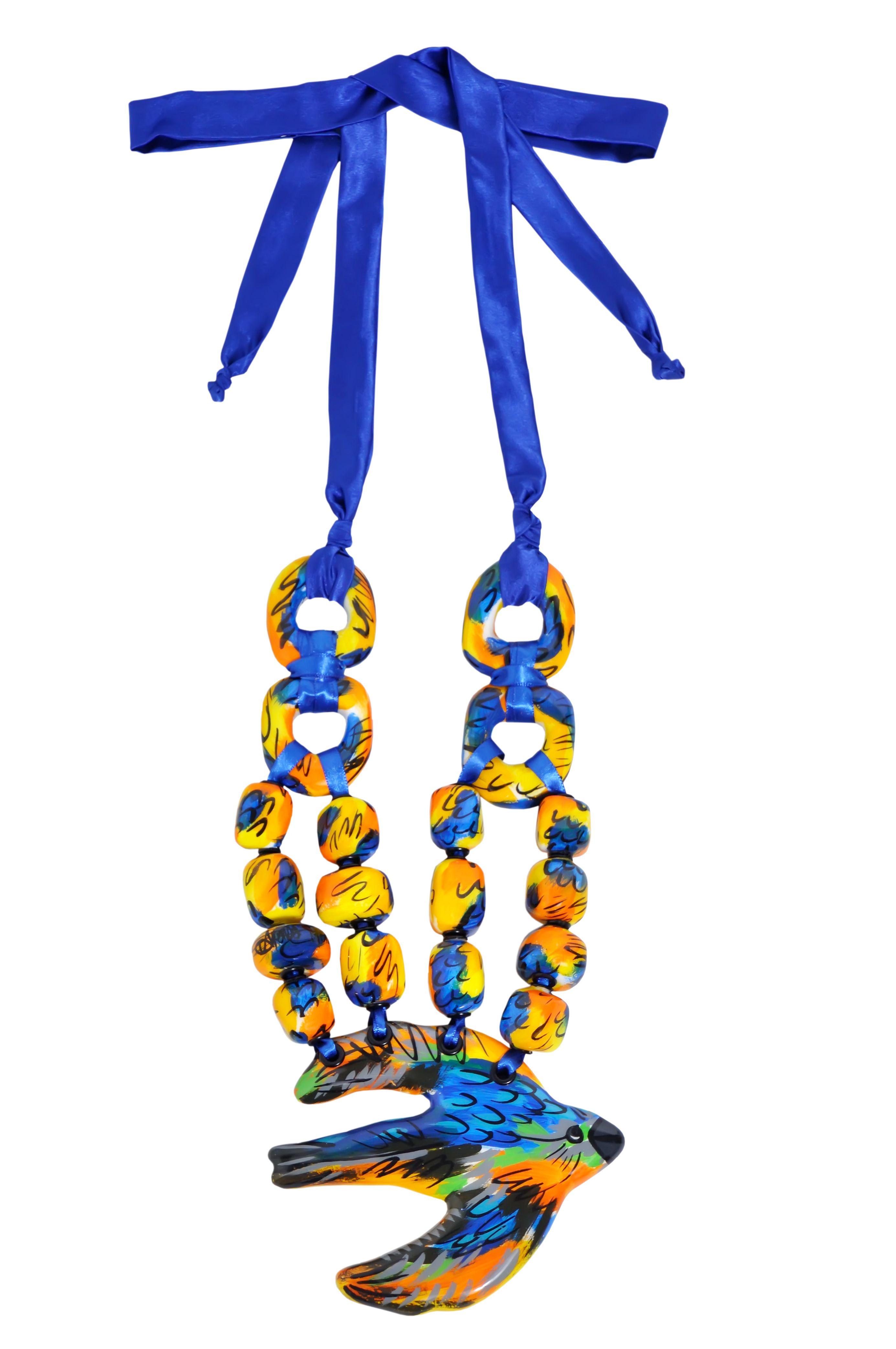 pajaro azul electrico necklace