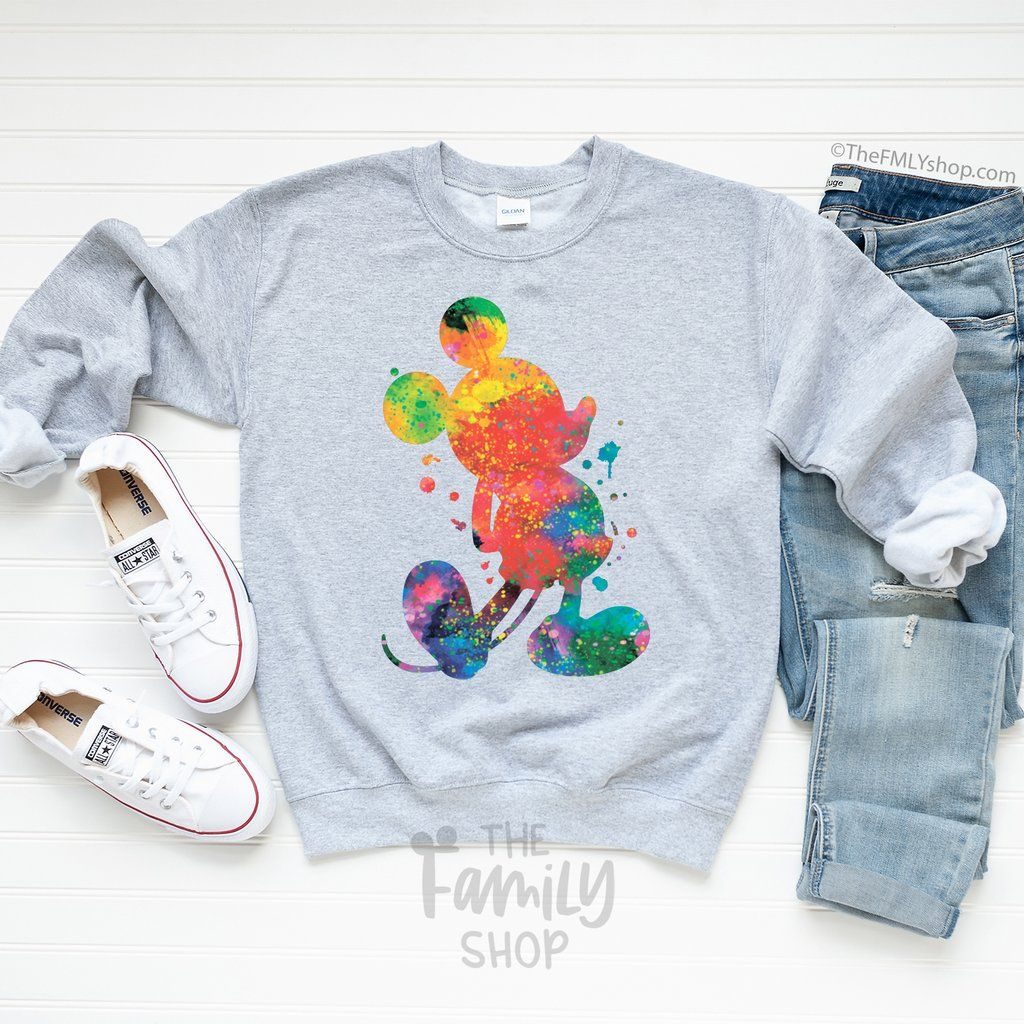 Watercolor Mickey Sweatshirt In 2020 Sweatshirts Cozy Sweaters