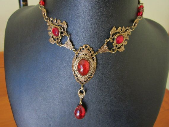 HANDMADE RED CHOKER Necklace Oxidized Brass Red by alkazdesign, $65.00