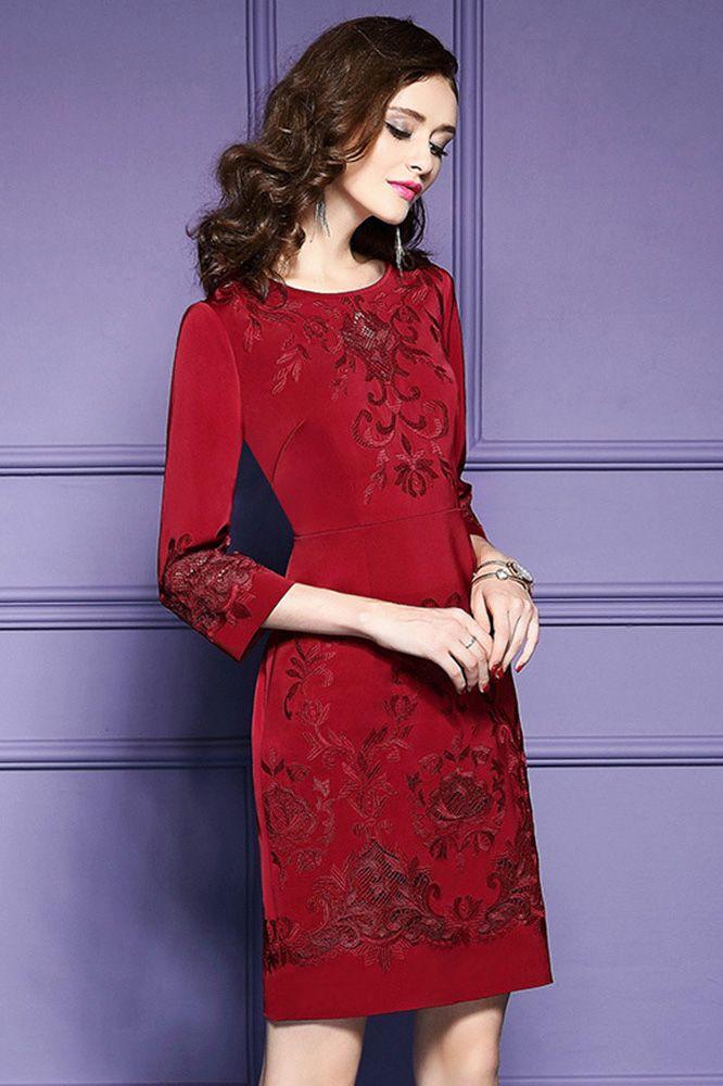 Only $71.99, Wedding Guest Dresses Burgundy Formal Embroidered Short ...