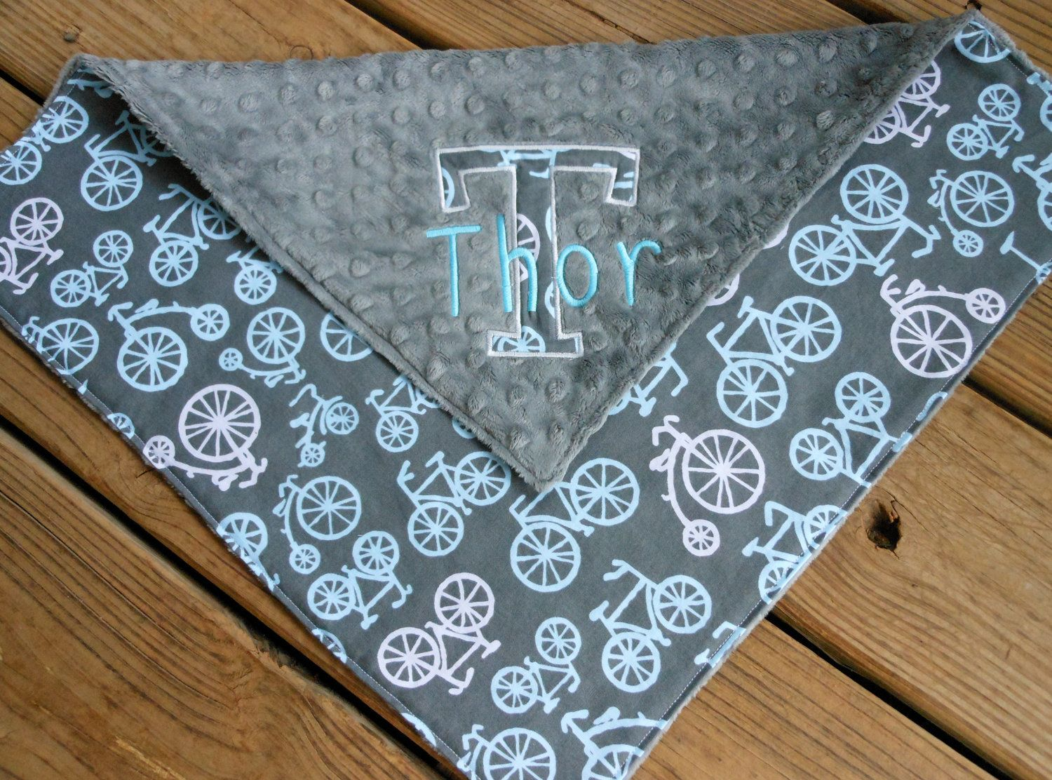 Personalized baby lovie baby gifts pinterest baby security items similar to personalized minky baby security blanket lovie bicycles gray on etsy negle Gallery