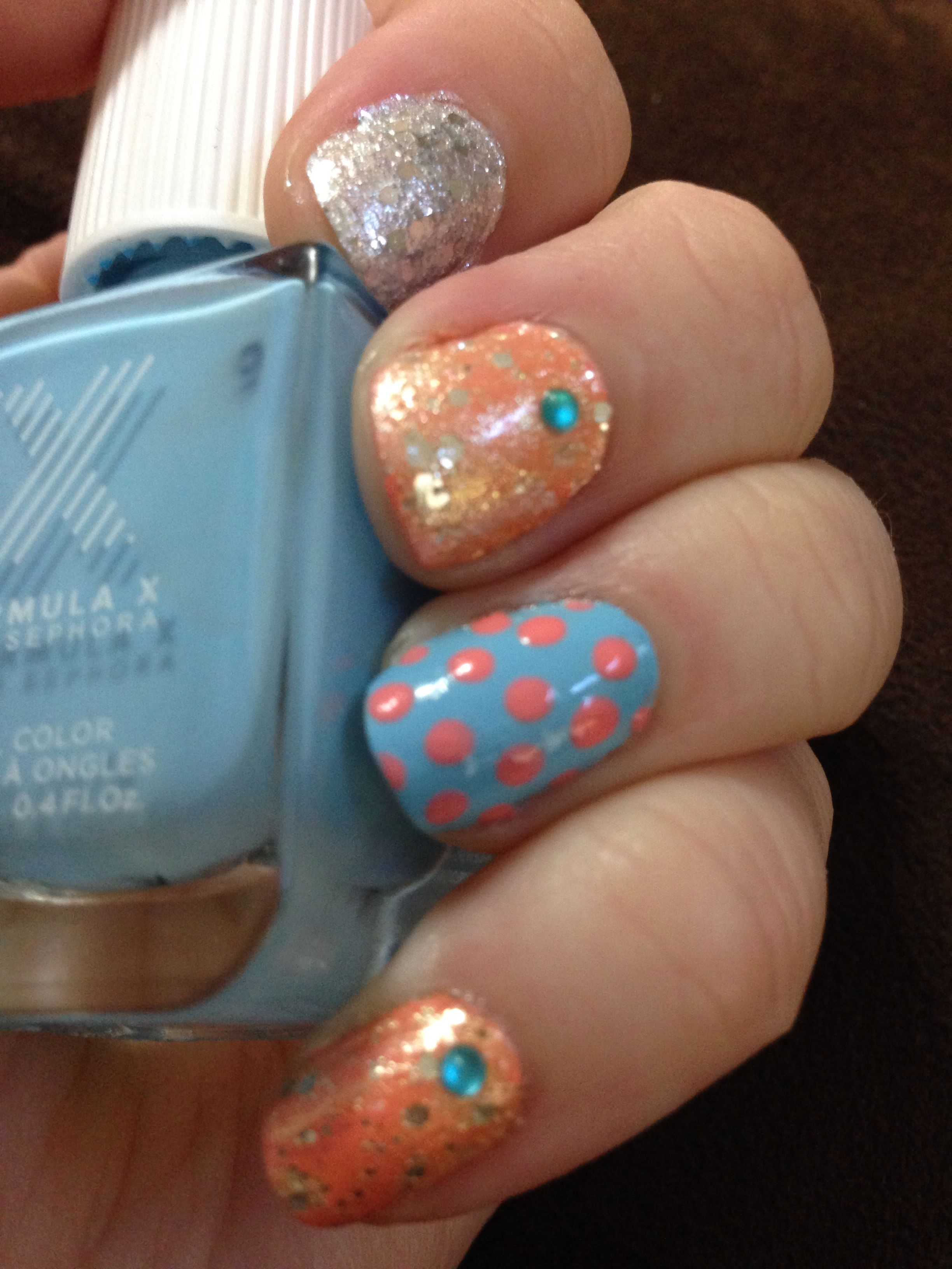 Blue peach and silver nails ideas for nails pinterest silver nail