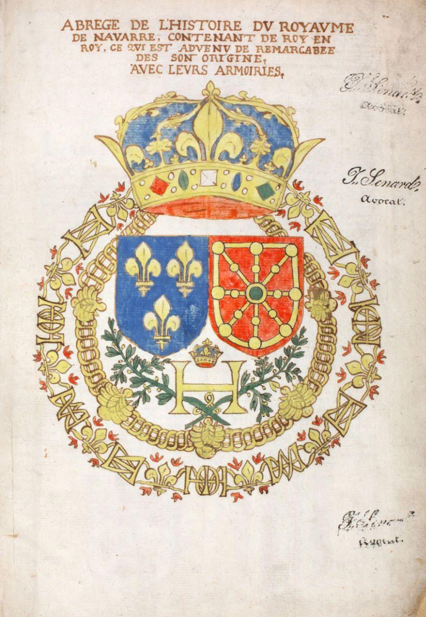 Miniature De L Abrege De L Histoire Du Royaume De Navarre Blason Marie De Medicis Heraldique