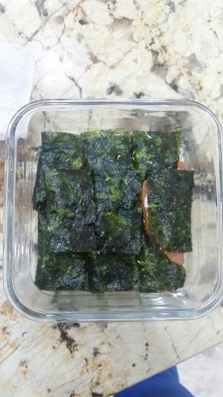 Seaweed, humus and smoked salmon!