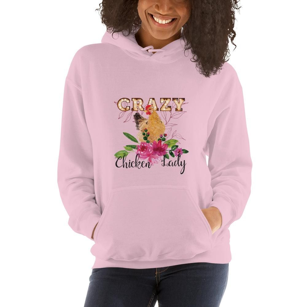 Photo of Crazy Chicken Lady Floral Unisex Hoodie – Light Pink / M