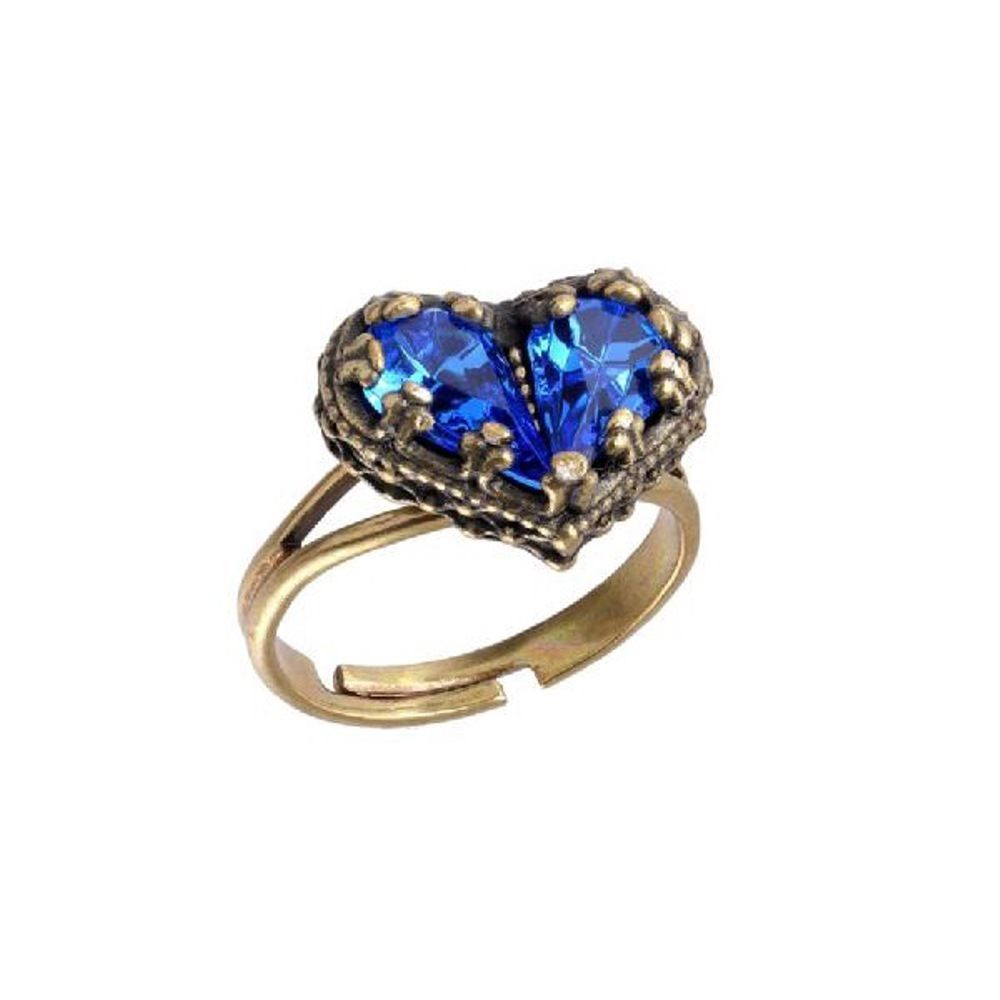 Michal Negrin Marvelous Heart Shaped Adjustable Ring Ornate with Blue Crystals #MichalNegrin