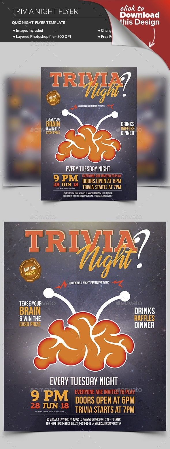 Trivia Night Flyer Template   Trivia, Flyer template and Template