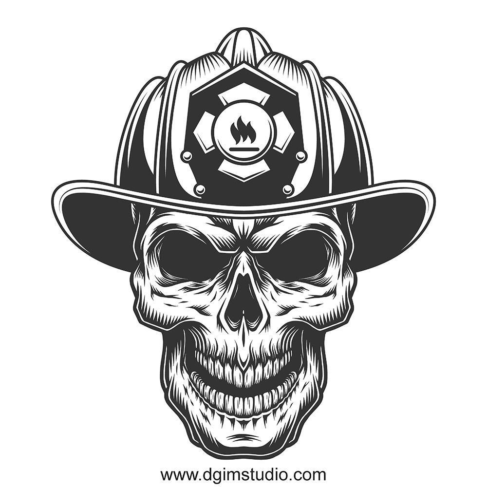 Skull creator Helmet drawing, Firefighter, Fire fighter