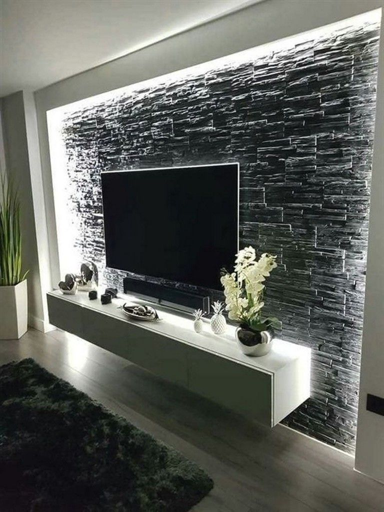 10+ Stunning Stone Wall Living Room Ideas