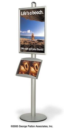 Round Base Pedestal Snap Frame Display Stand With Height Adjule Brochure Holder For 1 22x 28 Posters And Pocket 8 5x11 Or