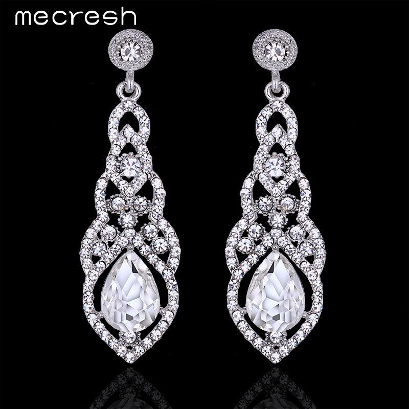 Elegant Women Silver Plated Rhinestones Crystal Drop Dangle Fashion Earrings
