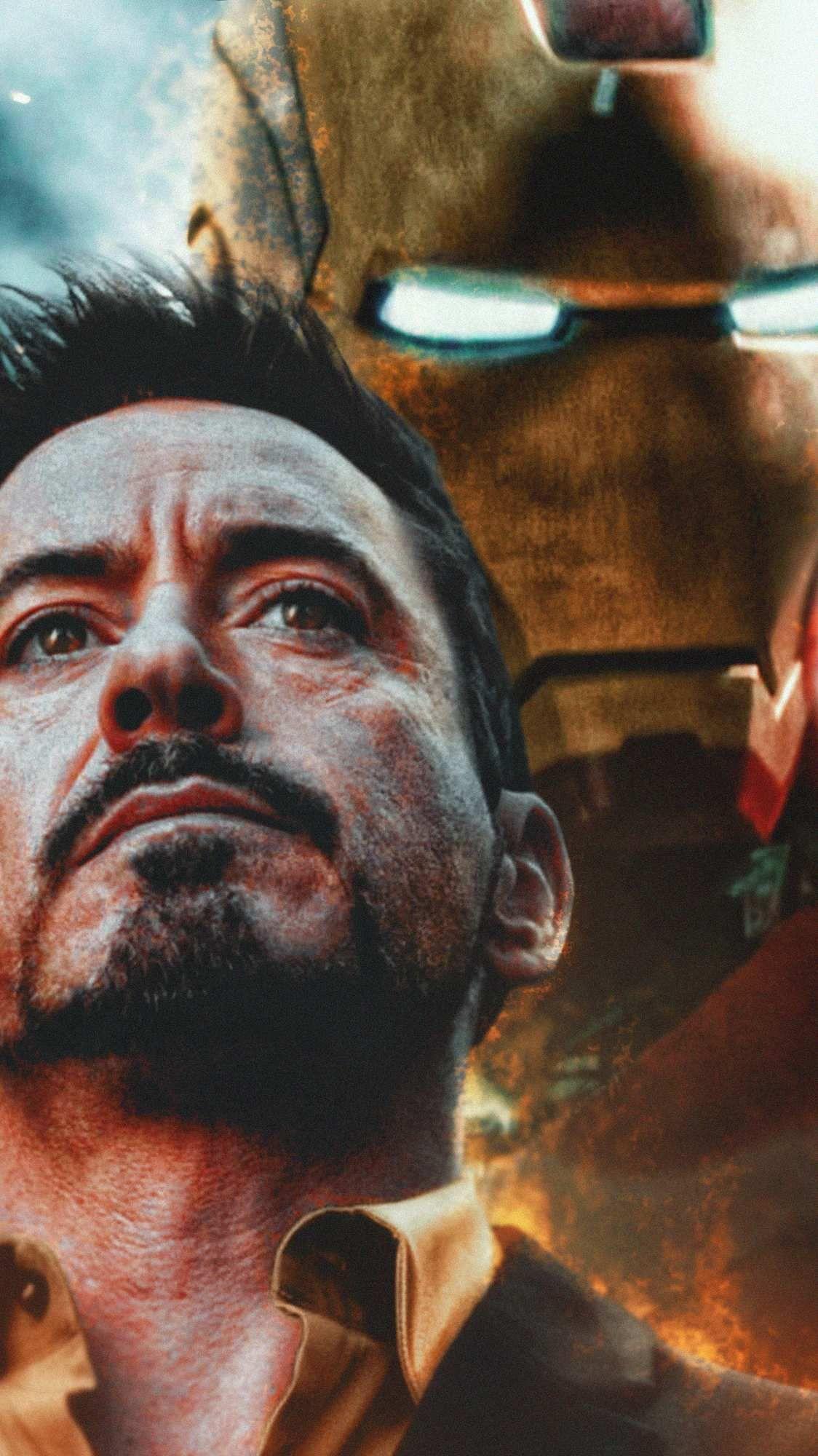 Ironman Tony Stark And His Armour Iphone Wallpaper Tony Stark