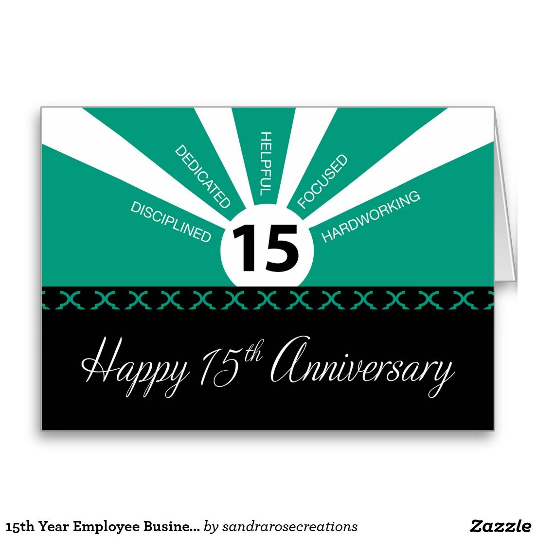 15th year employee business anniversary green card