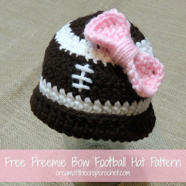 Crocheting Free Preemie Bow Football Hat Pattern Adorable