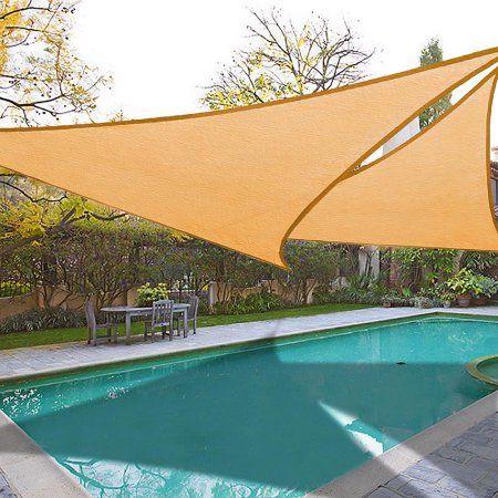 16.5u0027 Triangle Sun Shade Sail Patio Deck Beach Garden Yard Outdoor Canopy Cover UV Blocking - Walmart.com | gardens | Pinterest | Canopy Decking and Patios & 16.5u0027 Triangle Sun Shade Sail Patio Deck Beach Garden Yard Outdoor ...