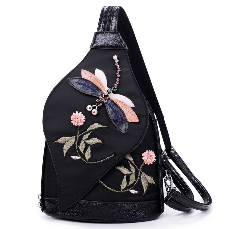 b479e1a2671 3D Diamond Dragonfly Women Shoulder Bag Embroidery Flower Ladies Backpacks  School Bags For Girls - BLACK