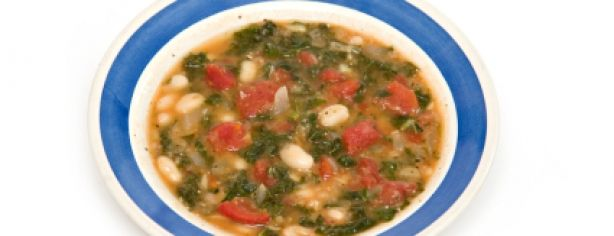 This hearty vegetarian soup with kale and beans packs a flavorful and nutritious punch.