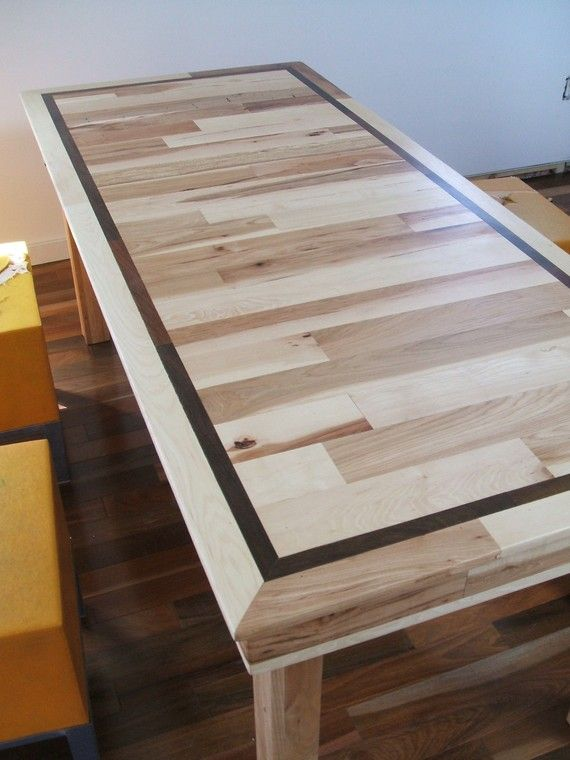 Beautiful Table Striking Hickory Table With Solid Walnut Inlay