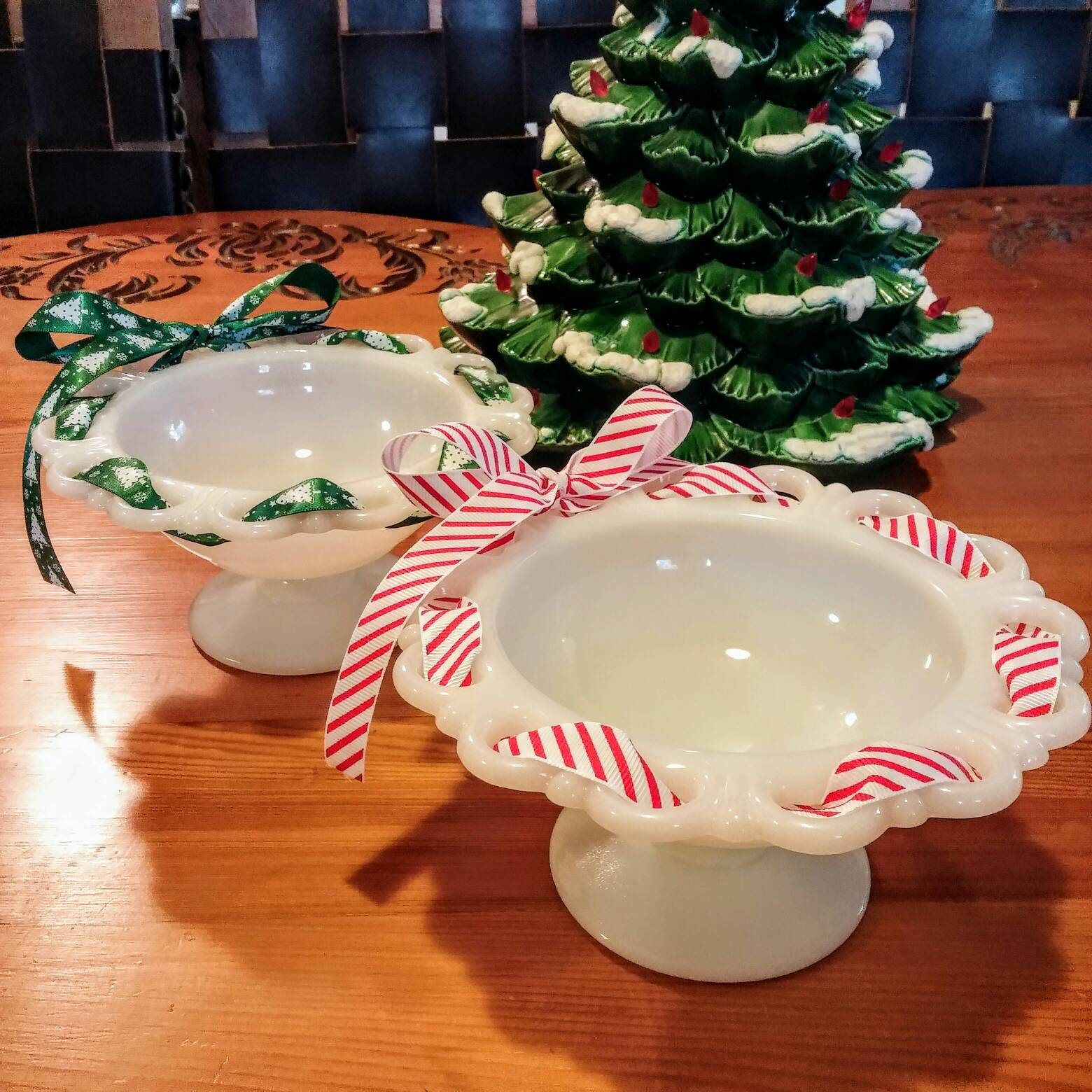 milk glass christmas candy dish laced edge milk glass pedestal dish christmas candy dish milk glass decor seasonal knick knack dish by jimpiphanys on