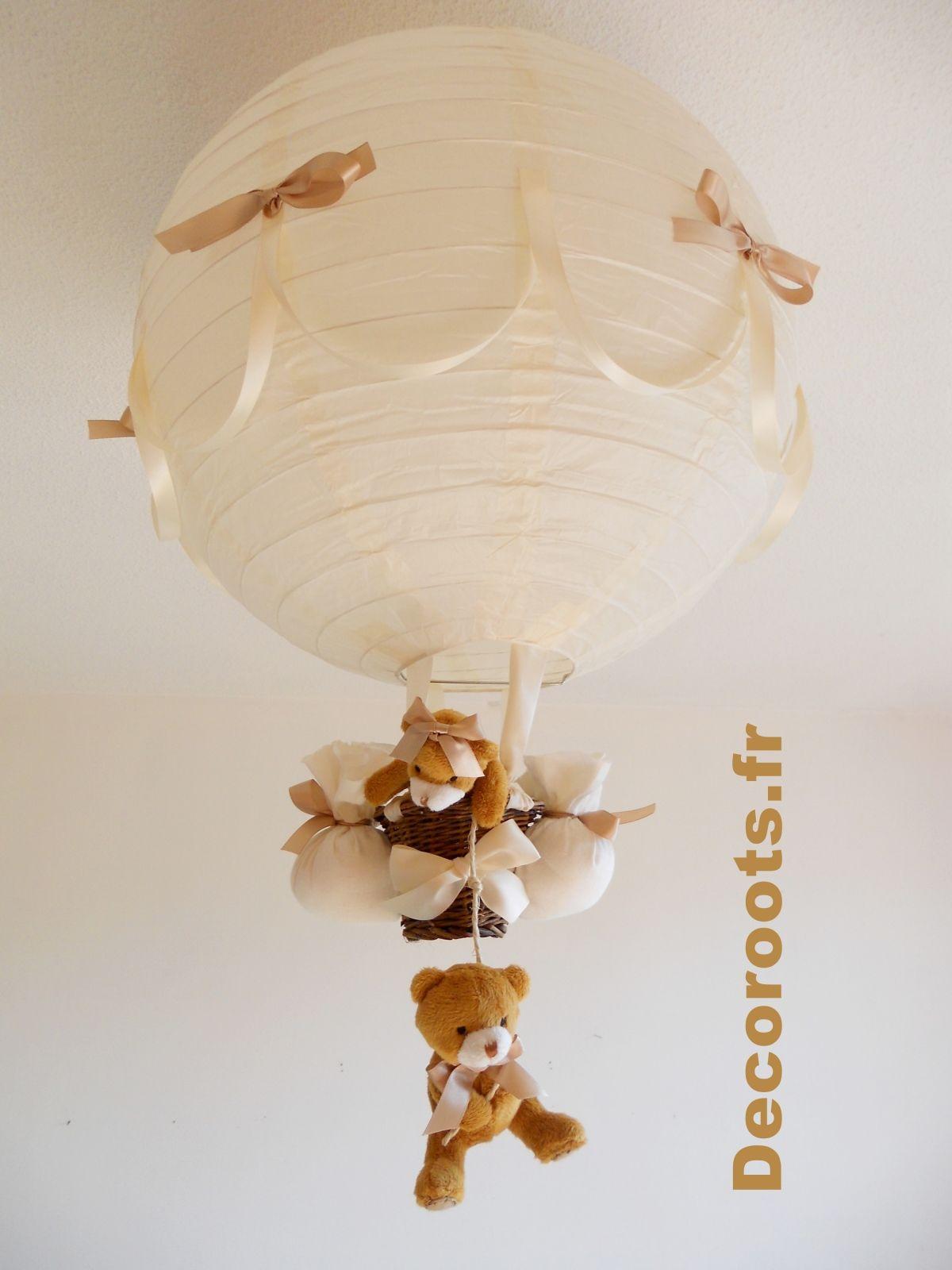 lampe montgolfi¨re bébé enfant ours beige