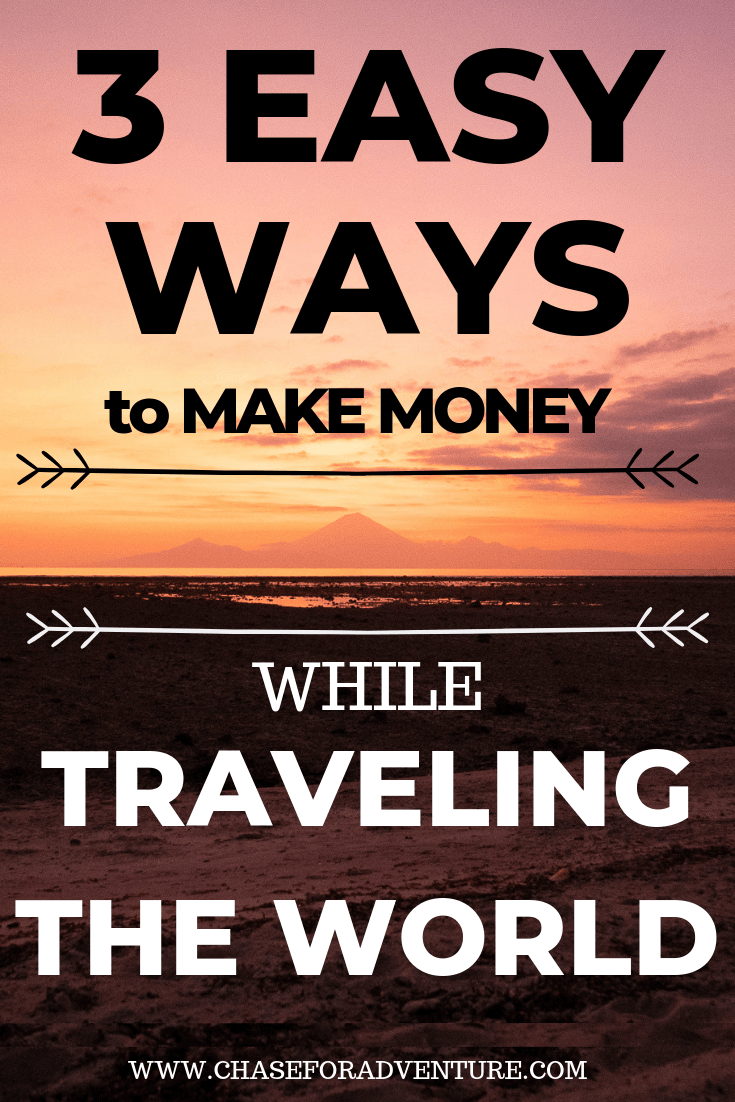 Looking to ways to make money while traveling the world? I've got you, friend! In this guide I teach you 3 easy ways to make money on the side, or make money from home while traveling! If you're looking for digital nomad jobs ideas, or ways that you can get paid to travel, this post covers ways that you can make money online, and help you travel full-time. Click through to get 50 job ideas right now! #onlineentrepreneur #digitalnomad #fulltimetravel #remotework #workonline