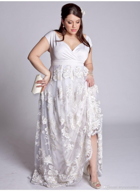 Bbw wedding dresses   New Arrival Plus Size Lace A Line Wedding Dresses High Split V