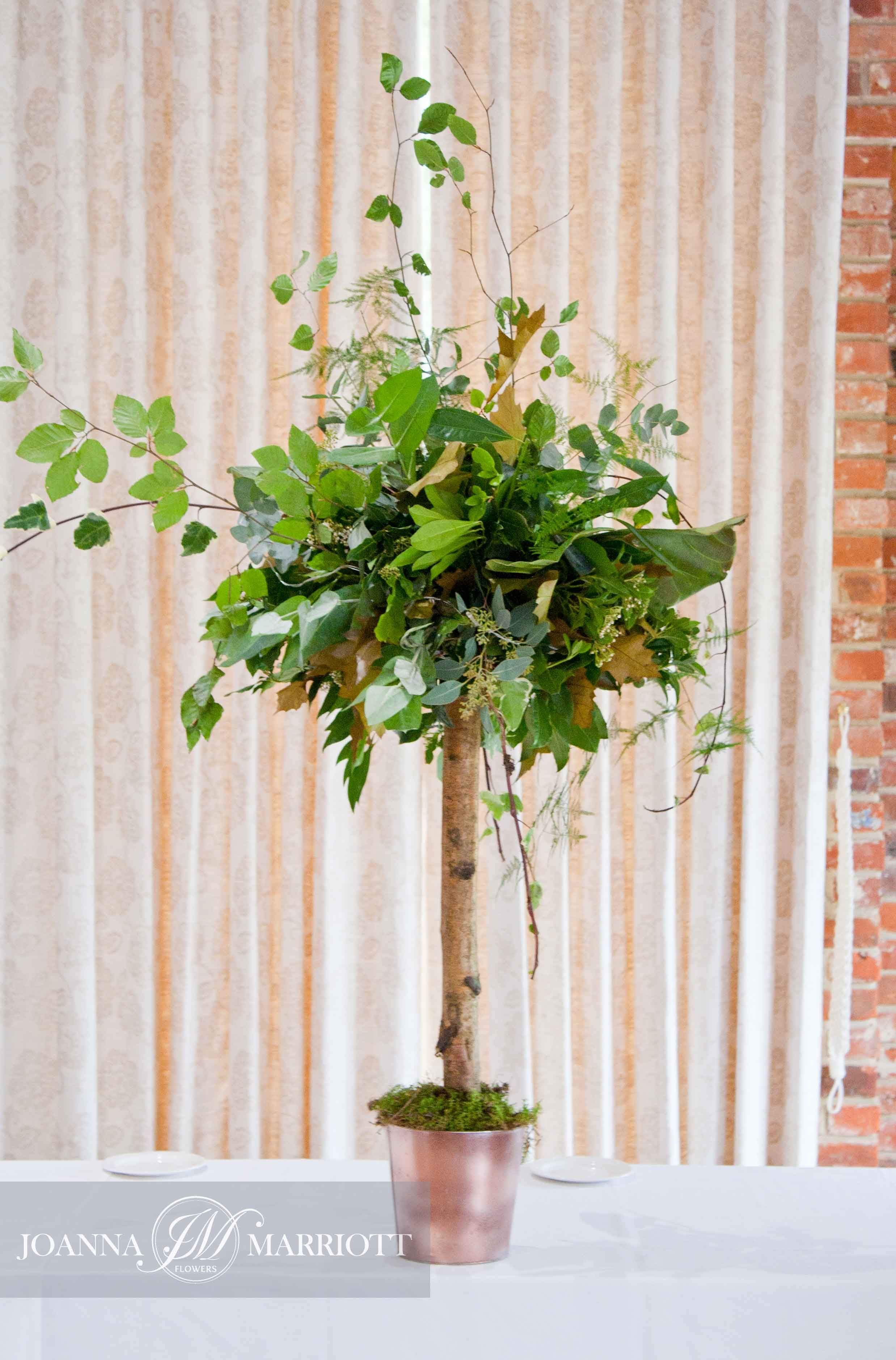 Woodland themed wedding. Topiatree composed of variety of foliage. Green wedding. rustic wedding, nature inspired, table arrangements.