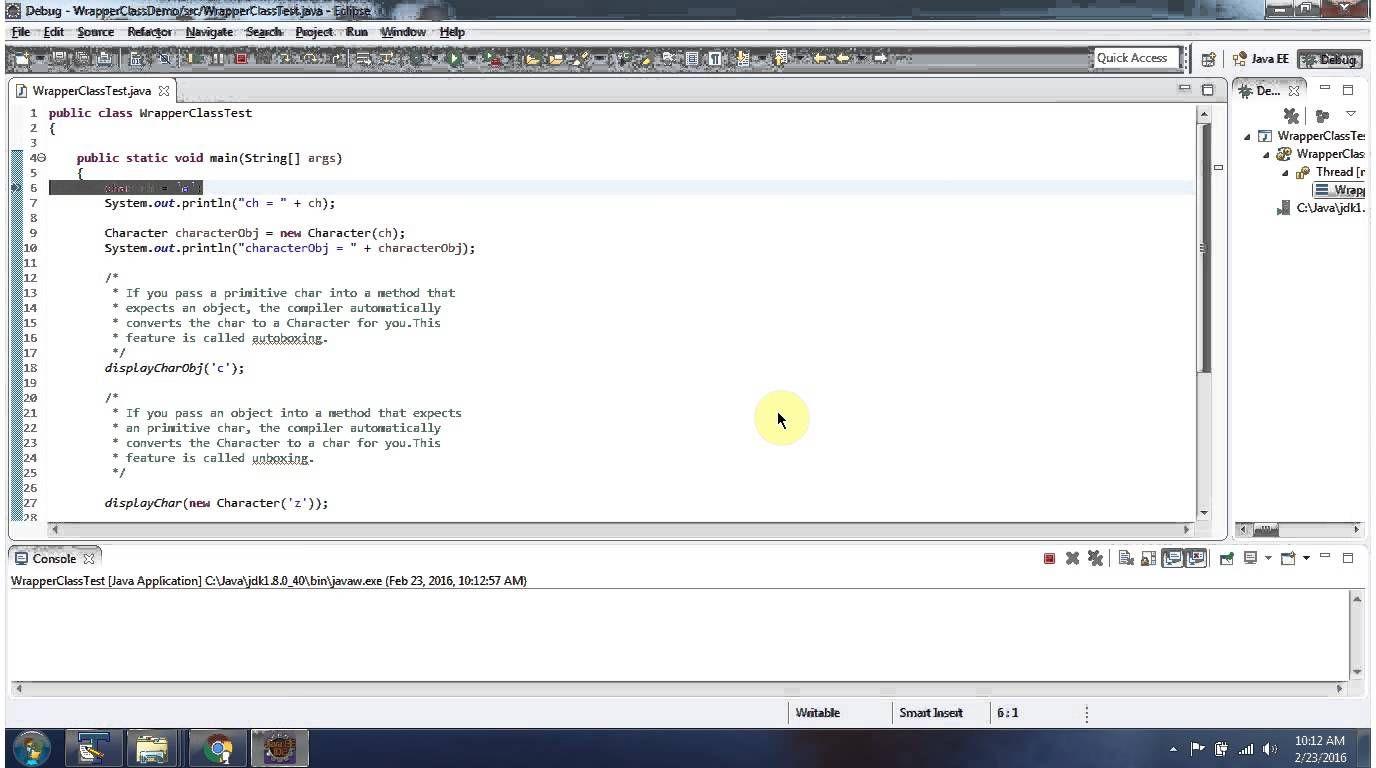 Java tutorial java wrapper class character java tutorial