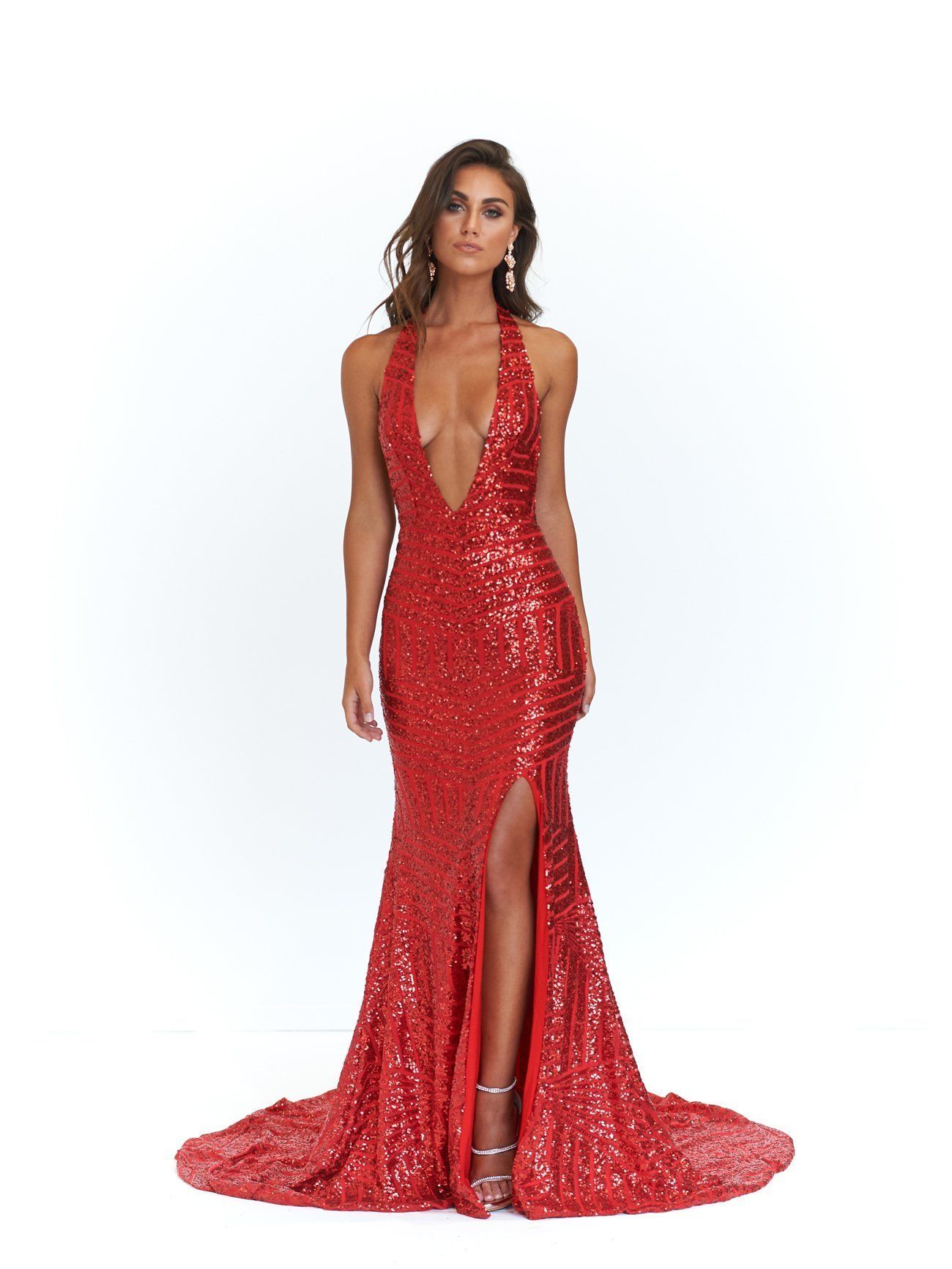 Red Sequin Prom Dress Sequin Gown Pretty Prom Dresses Dresses [ 1733 x 1300 Pixel ]