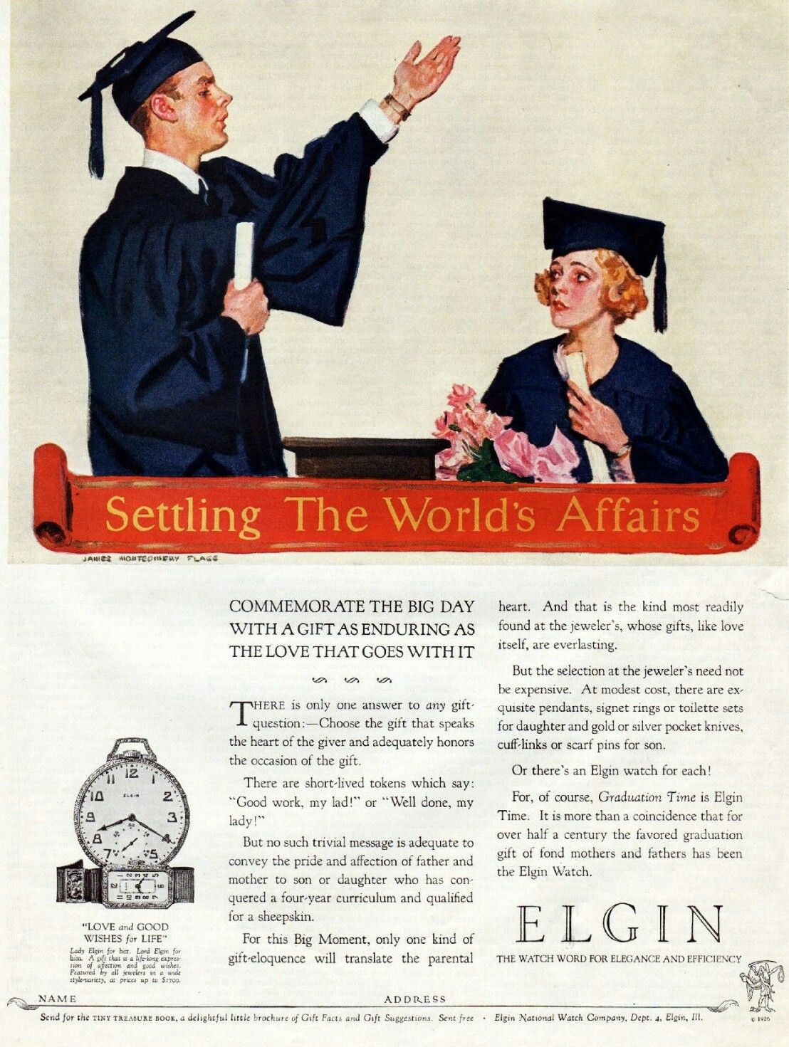 Elgin 1926 Graduation Cap And Gown Senior Student Cap And Gown