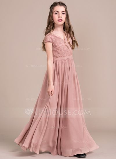 A-Line/Princess V-neck Floor-Length Zipper Up Sleeves Short Sleeves No Other Colors General Chiffon Lace Junior Bridesmaid Dress