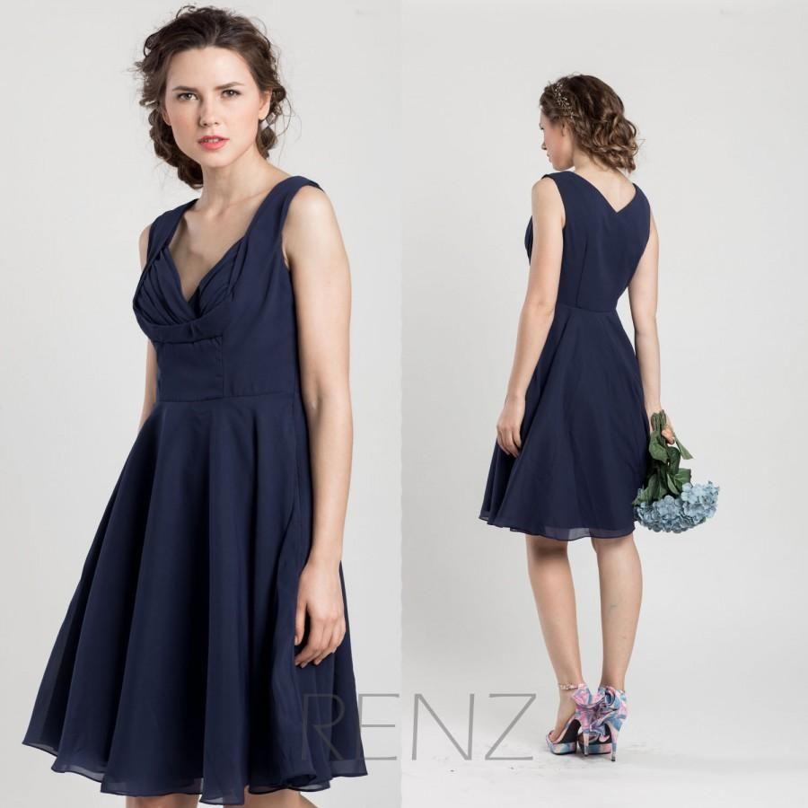 2015 Navy Blue Bridesmaid dress, Short Wedding dress, Chiffon Party ...