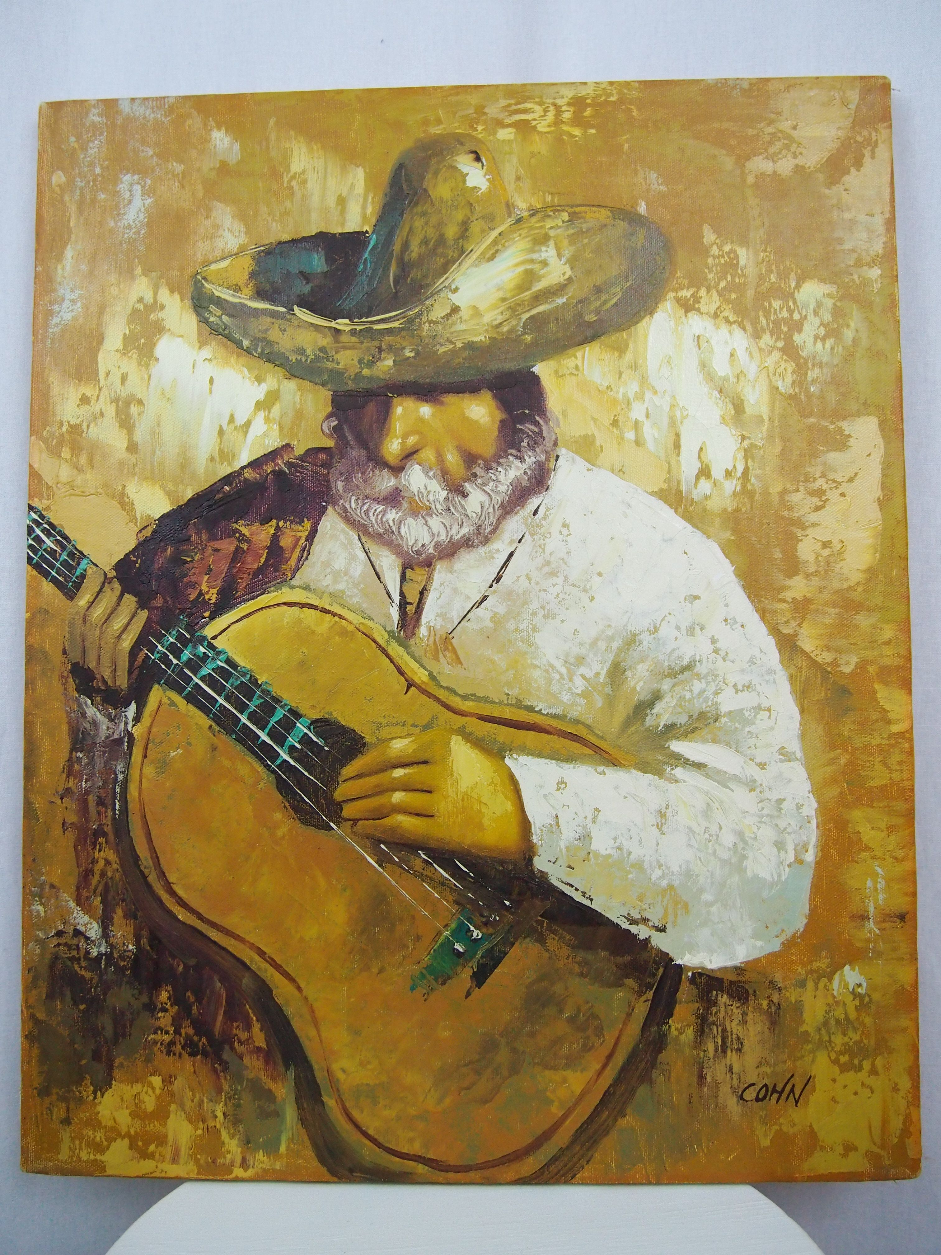 Mexican Man Guitar Sombrero Oil Painting Canvas Signed COHN World ...